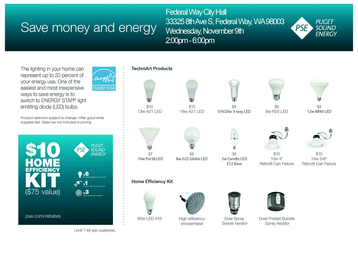 Energy-Efficient LED Light Bulb Sale   City of Federal Way